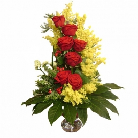 Bouquet mimosa 7 rose rosse