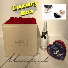 Magic moment  Luxury Scatola quadra-H30  (Flower box) con rose stabilizzate