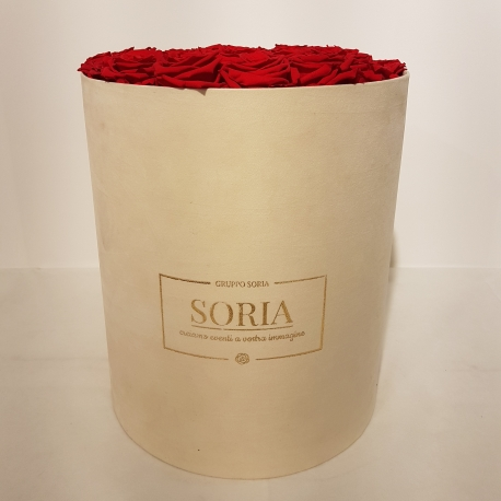 Scatola tonda D.30 (Flower box) con rose Fresche