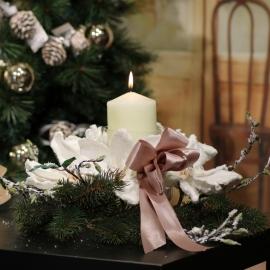 Centrotavola in vetro  con ramo magnolia