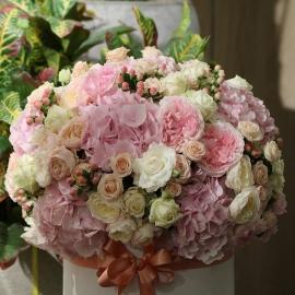 Scatola tonda D.30 (Flower box) con fiori Freschi MIX