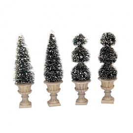 LEMAX-CONE-SHAPED & SCULKPTED TOPIARIES SET OF 4