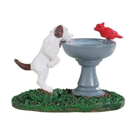 Lemax-Bird Bath Dog Fountain